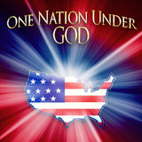 America Illustration -One Nation Under God. American shape made out of American flag with white rays beaming out. Text above, One Nation Under God. Concept image vector illustration