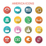America long shadow icons stock illustration