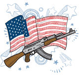 America loves assault rifles sketch Stock Photography