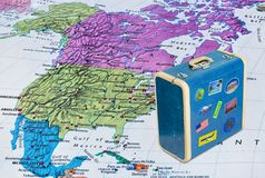 America map and travel case with stickers my photos royalty free stock images