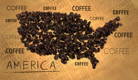 America map Coffee Bean producer on Old Paper Royalty Free Stock Image