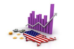 America map and currency Stock Image