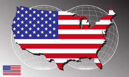 America map and flag. On the abstract background Royalty Free Stock Images