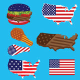 America Map Flag and American FastFood Stock Images