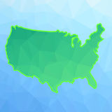 America Map. America Green Map Isolated on Blue Background Stock Photo
