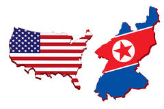 America map and North Korea map. America map and North Korea map on white background Stock Photography