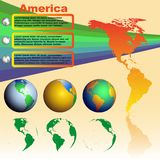 America map on yellow background with world globes. America map with shadow on yellow background with world globes vector Royalty Free Stock Photo