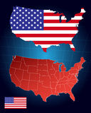 America maps and flag. On the abstract background stock illustration