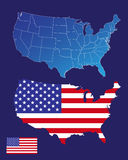 America maps and flag Royalty Free Stock Photos