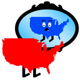 America mirror. Conservative America waking up in horror by seeing itself as Liberal in the mirror (Red = Republican Party color, Blue = Democrat Party color Stock Photography