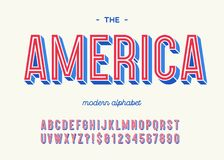 America modern alphabet 3d typography colorful style. For decoration, party poster, t shirt, logo, promotion, book, card, sale banner, printing on fabric. Cool royalty free illustration