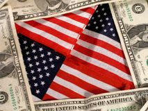 America and Money Background. American flag background with money stock image
