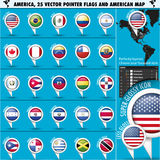 America Pointer Flag Icons with american Map set1 Royalty Free Stock Images