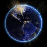 America real relief at night. Earth map from NASA Stock Images
