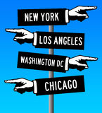 America road signs. Road signs in the USA pointing to major cities Royalty Free Stock Image