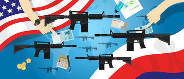 America Russia USA proxy war arms conflict world international dispute money business hands control Stock Photography