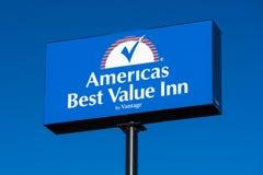 America`s Best Value Inn Exterior Sign and Logo Stock Photo