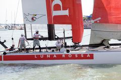 America's Cup. Venice, Italy: the catamaran of the Luna Rossa, Prada team, Italy , is engaged in the race during the 34th America's Cup World Series on May 19 stock photography