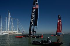 America's Cup 2013. American's Cup Yachts Mustering at the Amercia's Cup Pavillon in San Francisco Stock Image