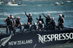 America's Cup Final. Team Oracle waving to the crowd after winning the 2013 America's Cup Royalty Free Stock Photo