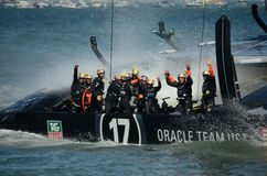 America's Cup Finals. Team Oracle celebrating its victory in the 2013 America's Cup Finals in San Francisco Royalty Free Stock Images