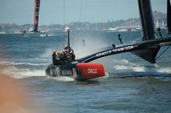 America's Cup Finals. Team Oracle crusing to its victory in the 2013 America's Cup Finals in San Francisco Royalty Free Stock Photography
