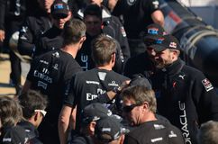America's Cup Finals. Team Oracle and Team New Zealand shaking hands after the conclusion of the 2013 America's Cup in San Francisco Royalty Free Stock Image