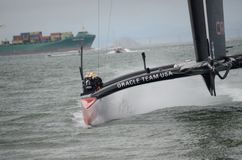 America's Cup 2013. Team Oracle racing to the finish during one of the America's Cup races Stock Images
