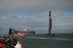 America's Cup 2013. Team Oracle sailing by fans at the 2013 America's Cup Stock Images