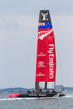 America`s Cup World Series, Fukuoka 2016. FUKUOKA, JAPAN - NOVEMBER 19, 2016: Louis Vuitton America`s Cup World Series with Team New Zealand being towed to the stock images