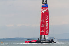 America`s Cup World Series, Fukuoka 2016. FUKUOKA, JAPAN - NOVEMBER 19, 2016: Louis Vuitton America`s Cup World Series with Team New Zealand being towed to the stock photos