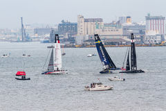 America`s Cup World Series, Fukuoka 2016. FUKUOKA, JAPAN - NOVEMBER 19, 2016: Louis Vuitton America`s Cup World Series with Teams Sweden, Japan, and France in royalty free stock photos