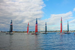 America's Cup World Series, Newport, RI. 6 of the worlds fastest catamarans sit in Newport prior to the start of the final leg of the World Series of the Stock Photo