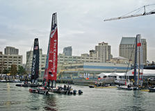 America's Cup World Series, San Diego. Emirates Team New Zealand, ORACLE Racing Coutts, and China Team are anchored in San Diego for the America's Cup World Royalty Free Stock Photo