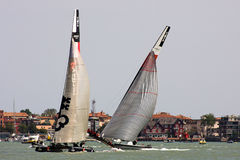 America's Cup World Series in Venice. The America's Cup World Series is a regular circuit of regattas, bringing Cup racing to top venues around the world Royalty Free Stock Photo