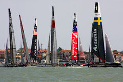 America's Cup World Series in Venice. The America's Cup World Series is a regular circuit of regattas, bringing Cup racing to top venues around the world Stock Image