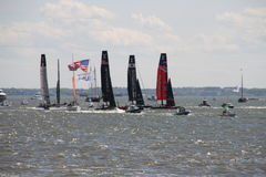 America's cup yacht racing on the hudson river Royalty Free Stock Photos