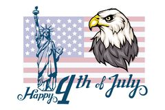 America`s Independence Day. Traditional Symbols of America. Bald eagle logo. Happy Independence Day. American flag. The Statue of Liberty. Vector graphics to Royalty Free Stock Photo