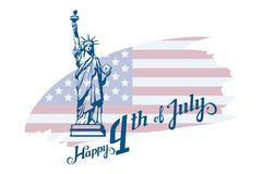 America`s Independence Day. Traditional Symbols of America. The Statue of Liberty. Happy Independence Day. American flag. Vector graphics to design royalty free illustration