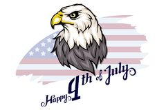 America`s Independence Day. Traditional Symbols of America. Bald eagle logo. Happy Independence Day. American flag. Vector graphics to design Stock Photo