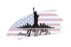 America`s Independence Day. Traditional Symbols of America. Happy Independence Day. The Statue of Liberty. American flag. Vector graphics to design stock illustration