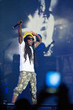 America's Most Wanted Tour. SACRAMENTO, CA - AUGUST 28: Rapper Dwayne Michael Carter, Jr. aka Lil Wayne performs in concert as part of America's Most Wanted Tour Royalty Free Stock Photo