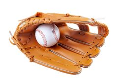 America s pastime, sporting equipment and american sports concept with a new generic baseball glove and holding a ball isolated on