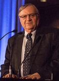 America's Toughest Sheriff Joe Arpaio. Recognized as America's toughest sheriff, Joe Arpaio, gives a speech at a conservative political function Stock Image