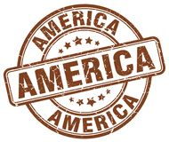 America stamp. America round grunge stamp isolated on white background. America