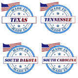 America Stamps. Set of stamps with made in texas,tennessee,south dakota,south carolina Royalty Free Stock Photography