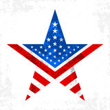 America star  icon. A red and blue star with an American flag pattern inside Stock Photography