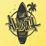 America surfing artwork, t-shirt apparel print graphics vector illustration