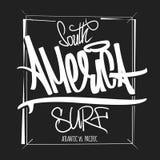 America surfing artwork, t-shirt apparel print graphics. stock illustration