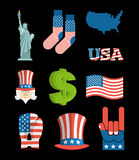 America symbol set. USA National Landmark. State traditional ico Stock Image